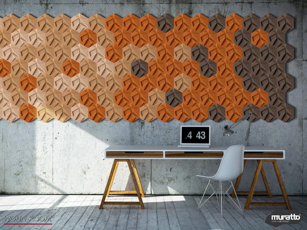 wandverkleidung_kork_hexagon_dekor_organic-blocks_muratto_wandverleidung_akustikpaneel_korkpaneel_wohn-room